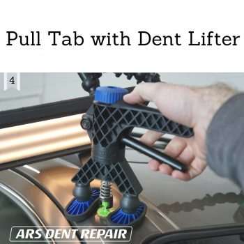 Pull tab with dent lifter or slide hammer